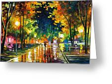 Late Night - Palette Knife Oil Painting On Canvas By Leonid Afremov Greeting Card