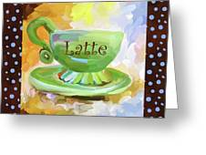 Latte Coffee Cup With Blue Dots Greeting Card