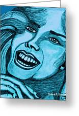 Laughing Girl In Blue Greeting Card