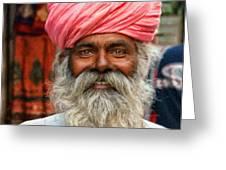 Laughing Indian Man In Turban Greeting Card