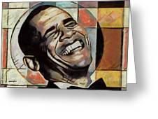 Laughing President Obama Greeting Card