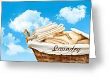 Laundry Basket  Against A Blue Sky Greeting Card by Sandra Cunningham