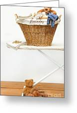 Laundry Basket With Teddy Bears On Floor Greeting Card