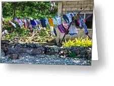 Laundry Drying In The Wind Greeting Card