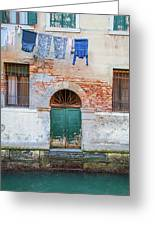Laundy Hangs In Venice Greeting Card