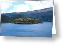 Lava Dome Island In Lake Cuicocha Greeting Card