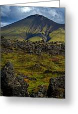 Lava Field And Mountain - Iceland Greeting Card