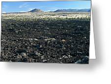 Lava Flow And Schonchin Butte, Lava Beds Nm, California, Usa Greeting Card