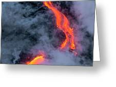 Lava Flowing Into The Ocean 20 Greeting Card by Jim Thompson