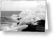 Lava Flowing To The Sea Greeting Card