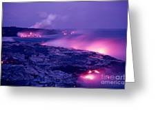 Lava Flows To The Sea Greeting Card