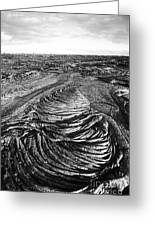 Lava Landscape - Bw Greeting Card