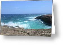 Lava Rock Cliffs And Crashing Ocean Waves In Aruba Greeting Card