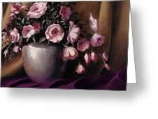 Lavander And Pink Flowers In Silver Vase Greeting Card