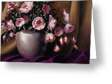Lavander And Pink Flowers In Silver Vase Greeting Card