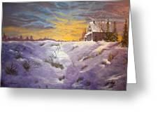 Lavendar Snow Greeting Card