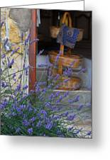 Lavender Blooming Near Stairway Greeting Card