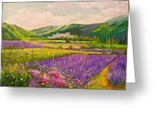 Lavender Fields Landscape Greeting Card
