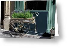 Lavender Flower Cart In Montmarte Paris Greeting Card