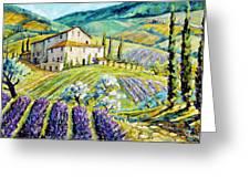 Lavender Hills Tuscany By Prankearts Fine Arts Greeting Card