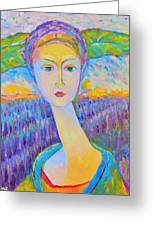 Lavender Lady Art Deco, Decorative Woman Painting, Woman Figure Print For Sale. Pretty Girl Canvas  Greeting Card