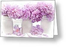 Lavender Peonies White Mason Jars - Romantic Shabby Chic Lavender Purple Peonies Mason Jars Greeting Card