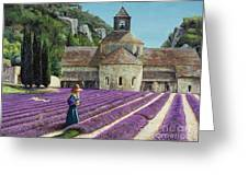 Lavender Picker - Abbaye Senanque - Provence Greeting Card