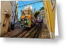 Lavra Funicular, Lisbon, Portugal Greeting Card