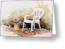 Lawn Chair With Flowers Greeting Card