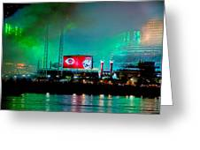 Laser Green Smoke And Reds Stadium Greeting Card