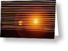 Lazy Summer Afternoon With Sunset View Through The Wooden Window Shades Greeting Card