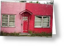 Lazy U Motel - Pink And Red Greeting Card