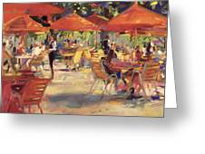 Le Cafe Du Jardin  Greeting Card by Peter Graham