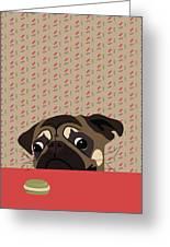Le Pug Et Le Macaron Greeting Card
