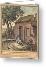 Le Vieux Chat Et La Jeune Souris (the Old Catand The Young Mouse) Greeting Card