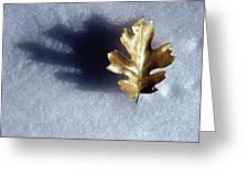 Leaf On Snow Greeting Card