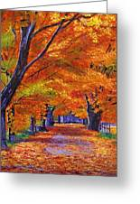Leafy Lane Greeting Card by David Lloyd Glover
