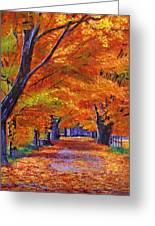 Leafy Lane Greeting Card by David Lloyd Glover