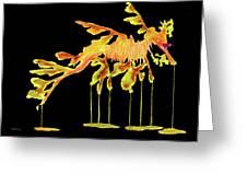 Leafy Sea Dragon On Black Greeting Card