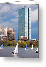 Lean Into It- Sailboats By The Hancock On The Charles River Boston Ma Greeting Card