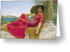 Leaning Against A Column Greeting Card