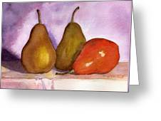 Leaning Pear Greeting Card