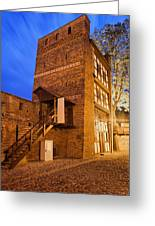 Leaning Tower By Night In Torun Greeting Card