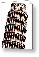 Leaning Tower Of Pisa  Sepia Digital Art Greeting Card