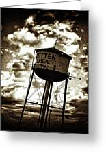 Leaning Tower Of Texas Greeting Card by Dennis Sullivan