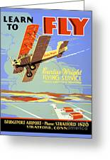 Learn To Fly Vintage Poster Restored Greeting Card