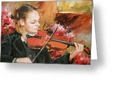 Learning The Violin Greeting Card