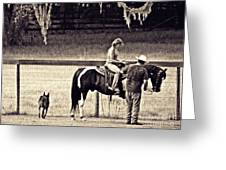 Learning To Ride Sepia Greeting Card
