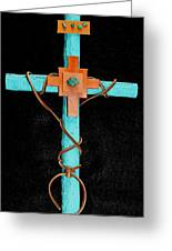 Leather And Stone Cross Greeting Card