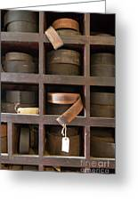 Leather Belt Storage At An Old Mill Greeting Card